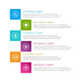 Flat colorful abstract infographic, six options with icons Stock Images