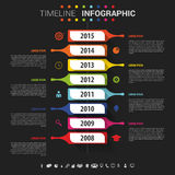 Flat colorful abstract timeline infographics vector. Black.  Stock Illustration