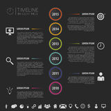 Flat colorful abstract timeline infographics vector with icons. Illustration Royalty Free Stock Photo