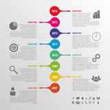 Flat colorful abstract timeline infographics vector. Illustration Royalty Free Stock Image