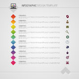Flat colorful abstract timeline infographics vector illustration with squares Royalty Free Stock Image