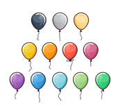 Flat colorful balloons set. Isolated on white background. Vector Illustration Stock Images