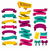 Flat Colorful Blank Ribbons Collection. With bright elegant banners and bows on dotted background  vector illustration Stock Images
