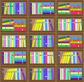 Flat  colorful bookshelf layout seamless pattern. Stock Image