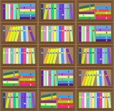 Flat  colorful bookshelf layout seamless pattern. Royalty Free Stock Photo