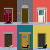 Flat Colorful Building Exterior Set Royalty Free Stock Photography