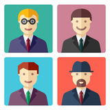 Flat colorful businessman avatar icons Royalty Free Stock Photo