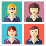 Flat colorful businesswoman avatar icons Royalty Free Stock Image