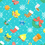 Flat Colorful Christmas Icons Seamless Background  Pattern Royalty Free Stock Images
