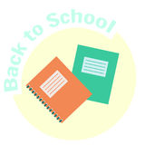 Flat colorful  copy-book and exercise-book. Icon. School copy book, exercise book, notebook for classwork and homework. Education equipment symbol. Cute cartoon Royalty Free Stock Photos