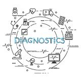 Flat colorful design concept for Diagnostics. Infographic idea of making creative products. Template for website banner, flyer and poster vector illustration