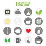 Flat colorful design tea icons set. Illustration of colorful set of tea icons royalty free illustration