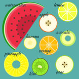 Flat colorful  fruits split across in a half Royalty Free Stock Photos