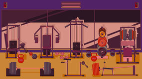 Flat colorful gym. Royalty Free Stock Photos