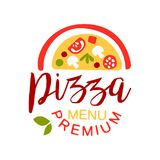 Flat colorful half of pizza with vegetables and sausage. Premium pizzeria menu logo creative design element. Vector. Flat colorful half of pizza with vegetables royalty free illustration