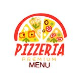 Flat colorful half of pizza with vegetables and sausage for premium pizzeria menu logo creative design element. Vector. Flat colorful half of pizza slices with stock illustration
