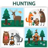 Flat Colorful Hunting Square Concept royalty free illustration