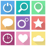 Flat Colorful icons set Royalty Free Stock Image