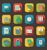Flat colorful icons of web business and financial objects, long. Illustration flat colorful icons of web business and financial objects, long shadow style Royalty Free Stock Photos