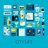 Flat colorful illustration about city life, traveling and shopping Stock Photos