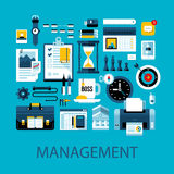 Flat colorful illustration about management, strategy and planning Stock Image