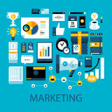 Flat colorful illustration about marketing and advertisement vector illustration