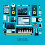 Flat colorful illustration about music, music creation and modern music equipment Stock Photography