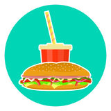 Flat colorful  lovely fast food couple - cola and sub sandwich Royalty Free Stock Photo