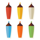 Flat Colorful Markers with Shadow Set isolated over white Royalty Free Stock Photography