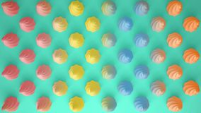 Flat colorful pop art composition with colored party cupcakes, bakery goodies, on turquoise background, pattern texture copy. Space stock image