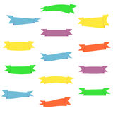 Flat colorful ribbons set. Blue, yellow, purple, red, green nice simple ribbons collection stock illustration