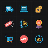 Flat colorful shop icons on black Stock Images
