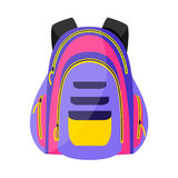 Flat colorful sport style, tourist backpack, school bag, vector illustration Stock Photography