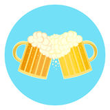 Flat colorful two beer glasses toast cheers symbol Royalty Free Stock Images