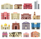 Flat colorful vector city buildings set. Icon background concept design. Architecture construction: courthouse, home Royalty Free Stock Photography