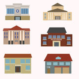 Flat colorful vector city buildings set. School, police, theater, institute hospital fire Royalty Free Stock Photo