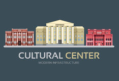 Flat colorful vector city cultural center buildings street. Icon background concept design. Vector urban landscape Royalty Free Stock Images