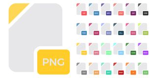 Flat colorful vector file format icons set isolated on white, document type flat icons. File format icons. Flat colorful vector file format icons set isolated on Stock Photography
