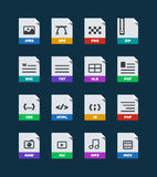Flat colorful vector file format icons set. Isolated on dark, document type flat icons. File format icons with images. File format label icons for web and Stock Image