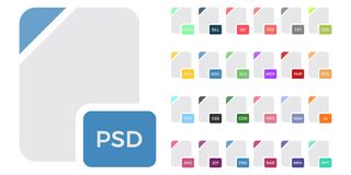 Flat colorful vector file format icons set isolated on white, document type flat icons. File format icons. Flat colorful vector file format icons set isolated on Royalty Free Stock Image