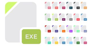 Flat colorful vector file format icons set isolated on white, document type flat icons. File format icons. Flat colorful vector file format icons set isolated on Stock Images
