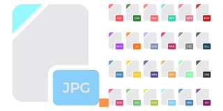 Flat colorful vector file format icons set isolated on white, document type flat icons. File format icons. Flat colorful vector file format icons set isolated on Stock Photo