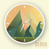 Flat colorful vector nature mountain clock Stock Photography