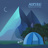 Flat colorful vector night tourism camping set. Stock Photos