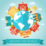 Flat colorful vector sity around of the world. Buildings Royalty Free Stock Photo