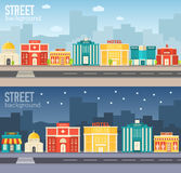 Flat colorful vector sity buildings set. Concept Stock Photos