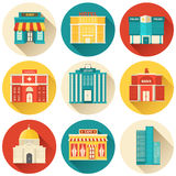 Flat colorful vector sity buildings set. Icon Stock Images