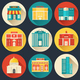 Flat colorful vector sity buildings set. Icons Stock Images