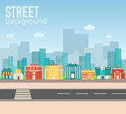 Flat colorful vector sity buildings set. Icons Royalty Free Stock Photography