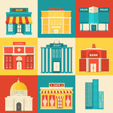 Flat colorful vector sity buildings set. Icons Royalty Free Stock Photo